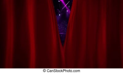 Red Curtain Opening at concert with flash light