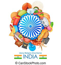 Unity in diversity of India - illustration of headgears of...