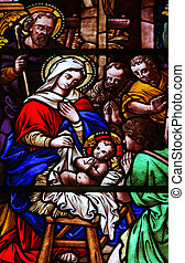 The Nativity - Stained glass church window (made at the end...