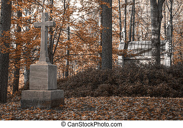Tomb and monument with a cross in the autumn woods HDR -...