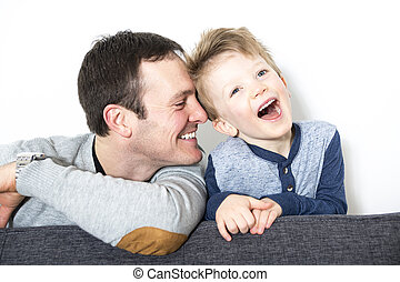 nice closeup of father and son at home - A nice closeup of...