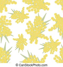 Mimosa twigs seamless pattern - vector illustration....