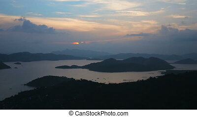 Sunset on tropical island,view from the mountain - sunset...
