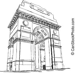 India Gate Vector Illustration - India Gate Vector Sketch...