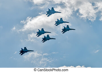 Team work of russian fighters SU-27 knights - Nizhniy Tagil,...
