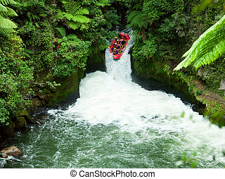 White water rafting - A group of whitewater rafters on the...