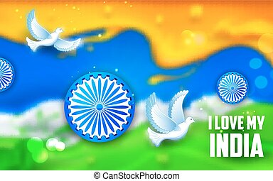 ove flying with Indian tricolor background