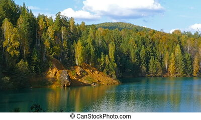 aututmn lake landscape in Ural mountains