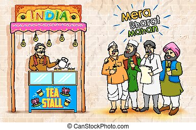 Unity in Diversity of India - illustration of people of...