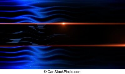 Abstract deep blue waves animation with particles and lens...
