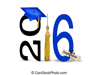 blue graduation cap for 2016 - Blue cap and gold tassel on...