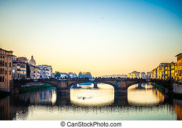 Arno river - A beautiful old bridge over Arno River in...