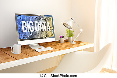 minimalist workplace with big data - minimalist workspace...