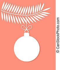 Christmas bauble vector - Christmas bauble on tree branch...