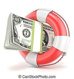 Life buoy with dollars banknote 3D render illustration...