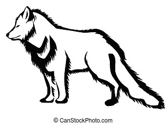 arctic fox abstract silhouette on white background