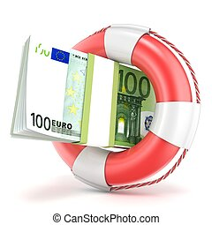 Life buoy with euros banknote 3D render illustration...