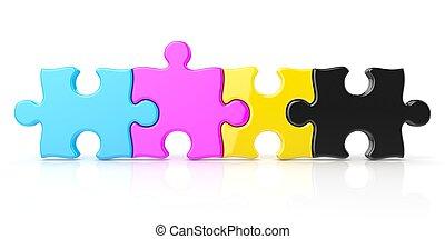 CMYK color puzzle row. 3D render