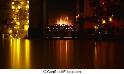 fireplace in the interior New Year - fireplace at a New...