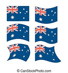 Flag of Australia. Set of flags in different forms.