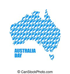 Australia Day Map of Australia from kangaroo Continent...