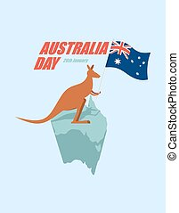Day Australia. Patriotic holiday State. Kangaroos and Australian flag. Map of Australia and marsupial.
