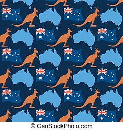 Australia day seamless ornament. Kangaroos and flag of Australia. Continent map of State of Australia.