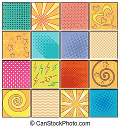 Pop art background set - Colored pop art background set