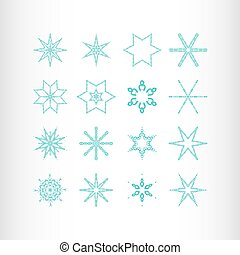 Winter stars and snowflakes for creation of New Year's...