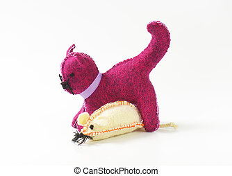Handmade stuffed toy animals - Handmade stuffed cat and...