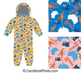 Australia day kids overall. Textures set Kangaroo and map of Australia seamless. Flag of Australia and Tasmanian animals. Texture for boys and girls. Childrens clothing design template.