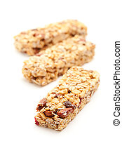 Three Granola Bars Isolated on White - Three Granola Bars...