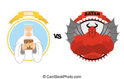 God vs Satan. Good grandfather with white beard and Halo above his head holds Bible. Dreaded Red Devil with horns and wings. Confrontation of good and evil. Avatars for  battle of heaven and hell.