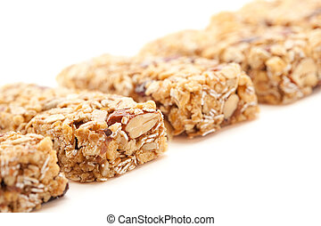 Row of Several Granola Bars Isolated on White