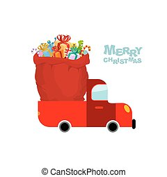 Merry Christmas. Machine carries bag of gifts. Car and Red sack Santa Claus. Christmas Santas transport. Truck and big bag of toys for children.