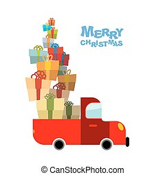 Merry Christmas. Car and lots of gift box. Truck  bunch of holiday gift. Auto carries gifts for children. Illustration for Christmas and new year.