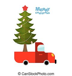Christmas tree in car. Truck carries decorated Christmas tree for holiday. Garlands and bumps and Red Star. Happy Christmas.