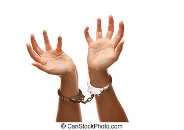 Handcuffed Woman Raising Hands in Air on White - Handcuffed...
