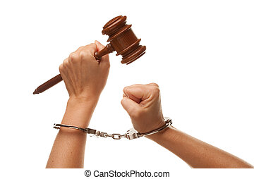 Handcuffed Woman Holding Wooden Gavel on White