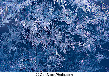 Blue ice pattern - Abstract ice pattern on winter glass
