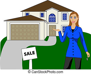 Real Estate House Woman - Vector Illustration. A real estate...