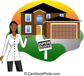 Open House with Agent - Vector Illustration. A real estate...