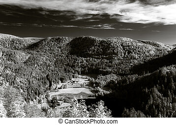 Infrared view of beautiful valley in Vosges mountains,...