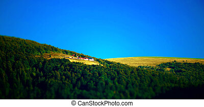 Beautiful mountain landscape in Vosges, France, summer day