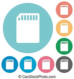 Flat SD card icons - Flat SD memory card icon set on round...