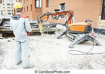 constructor, trabajador, Operar, Demolición, máquina,