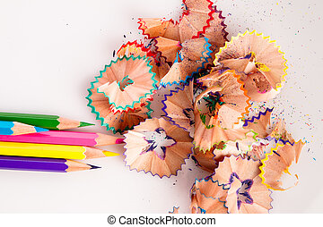 color paints and wood chips - color wood chips and pencils