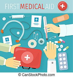 First Medical Aid Kit Design Flat