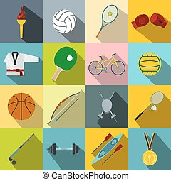 Summer sport flat icons set