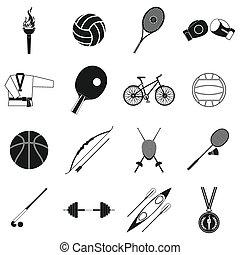 Summer sport black simple icons set